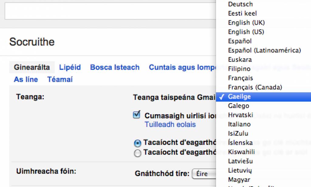 Gmail liosta teangacha agus rogha Gaeilge