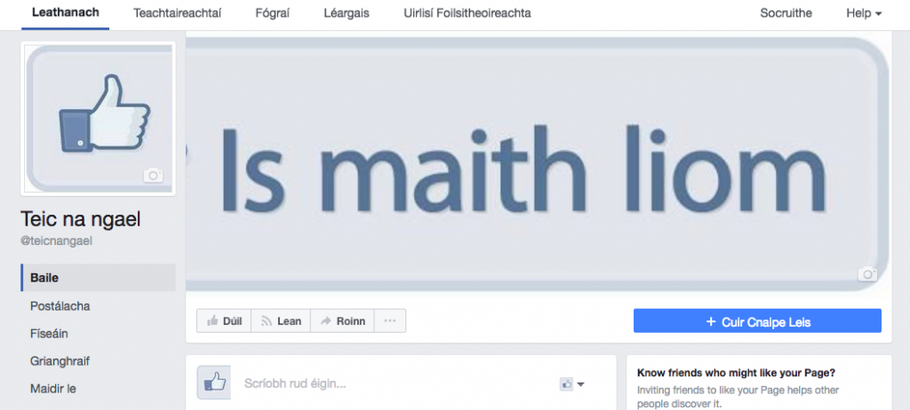 Teic na nGael Facebook Page viewing it as Gaeilge