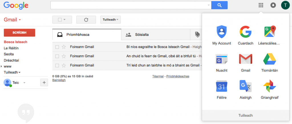 Gmail thorugh Irish