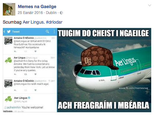 Méim Gaeilge Scumbag Aerlingus