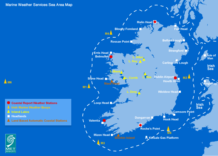 marine map Irish Weather Buoy Network